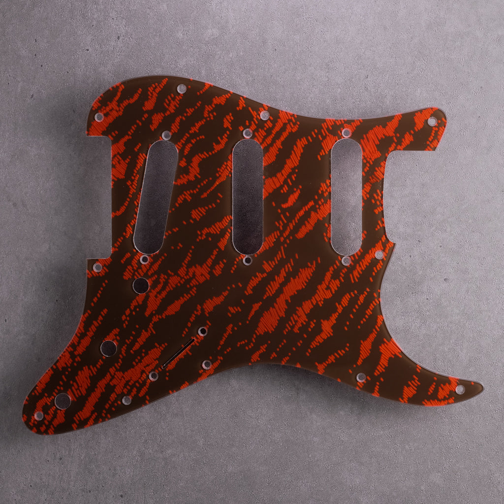 Tiger Tide - Stratocaster Pickguard - Mars Red on Brown Acrylic