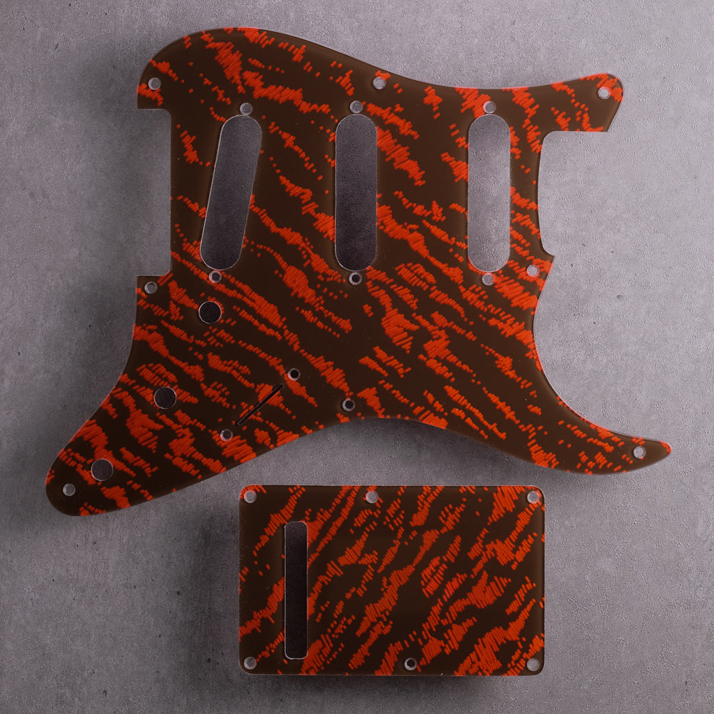 Tides - Stratocaster Pickguard and Trem Cover - Mars Red on Brown Acrylic