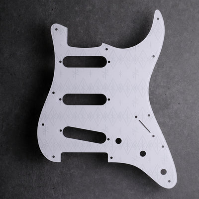 Maybellene - Stratocaster Pickguard - Pearl White on White Acrylic