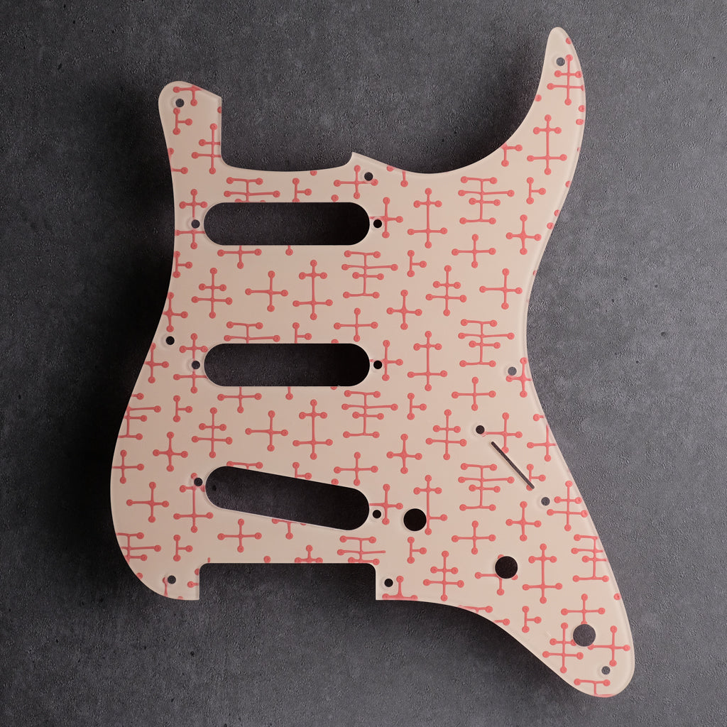 Eames Dots - Stratocaster Pickguard - Coral Pink on Ivory
