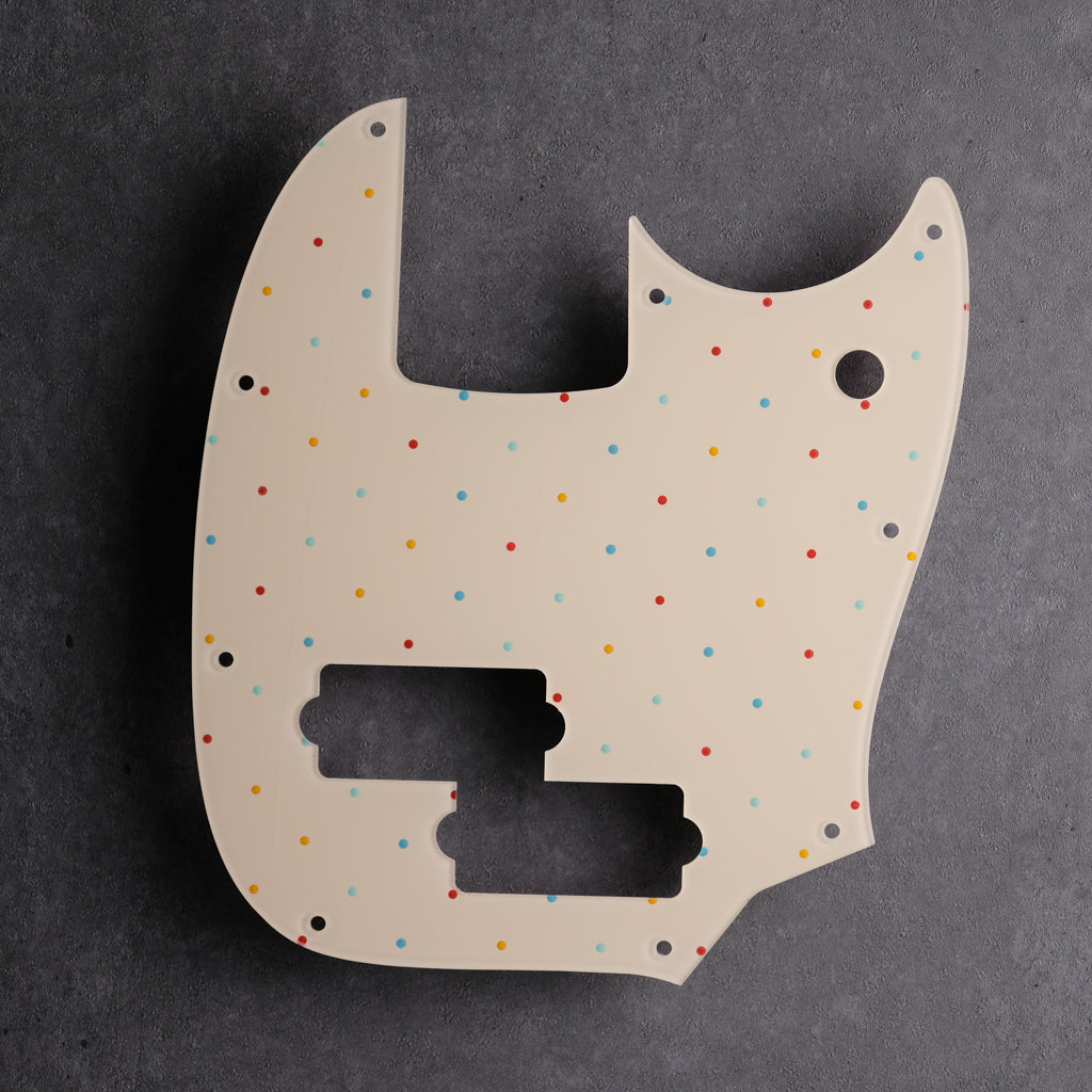 Dots at the Beach - Mustang Bass PJ Pickguard - Ivory Acrylic