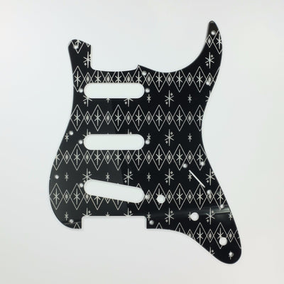 Maybellene - Stratocaster Pickguard - Silver on Black
