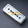 The Stripe Reversed - P90 Soapbar Cover - Nickel Trim - Gold on Silver Face