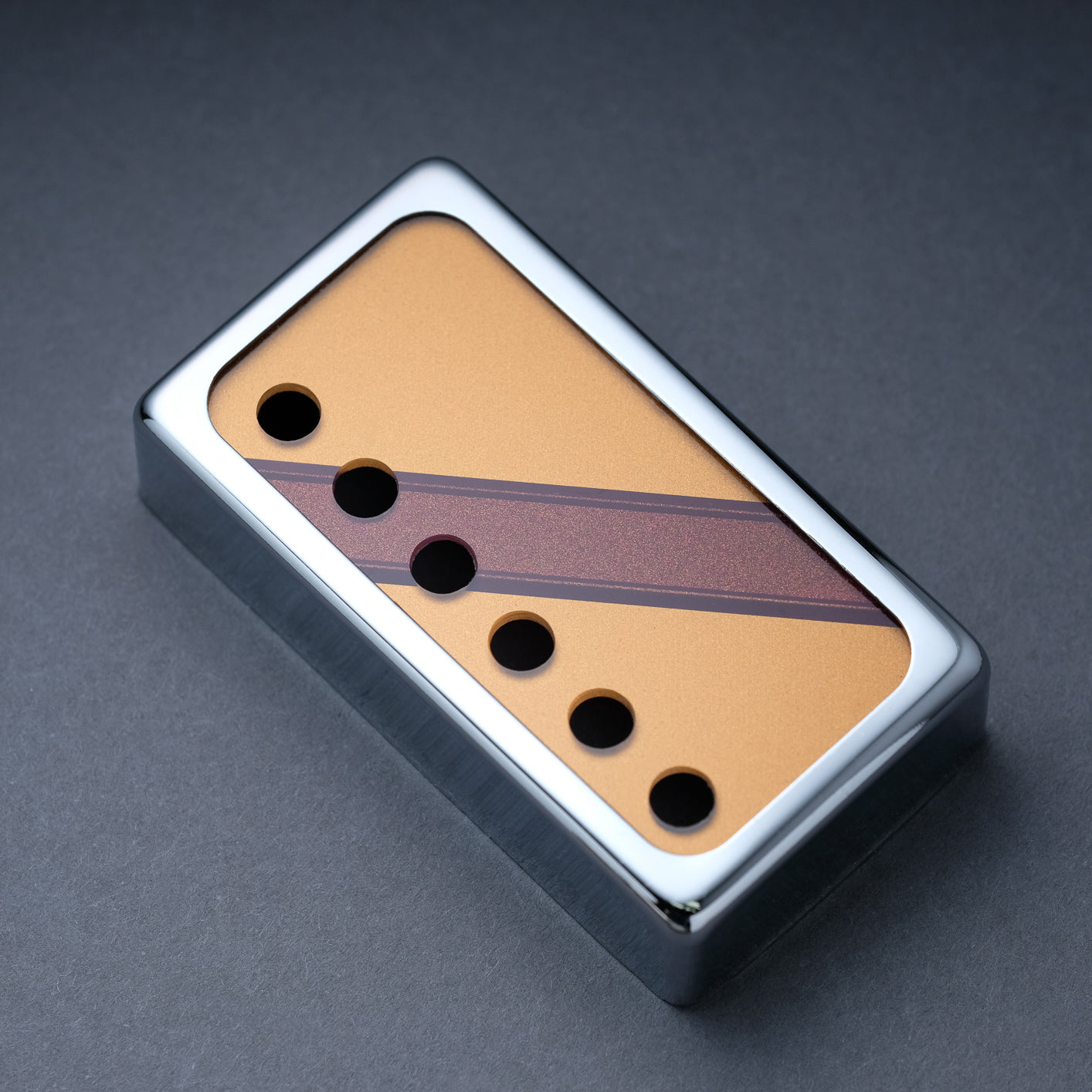 The Stripe Reversed - Humbucker Cover - Chrome Trim - Burgundy Mist Metallic on Deep Gold