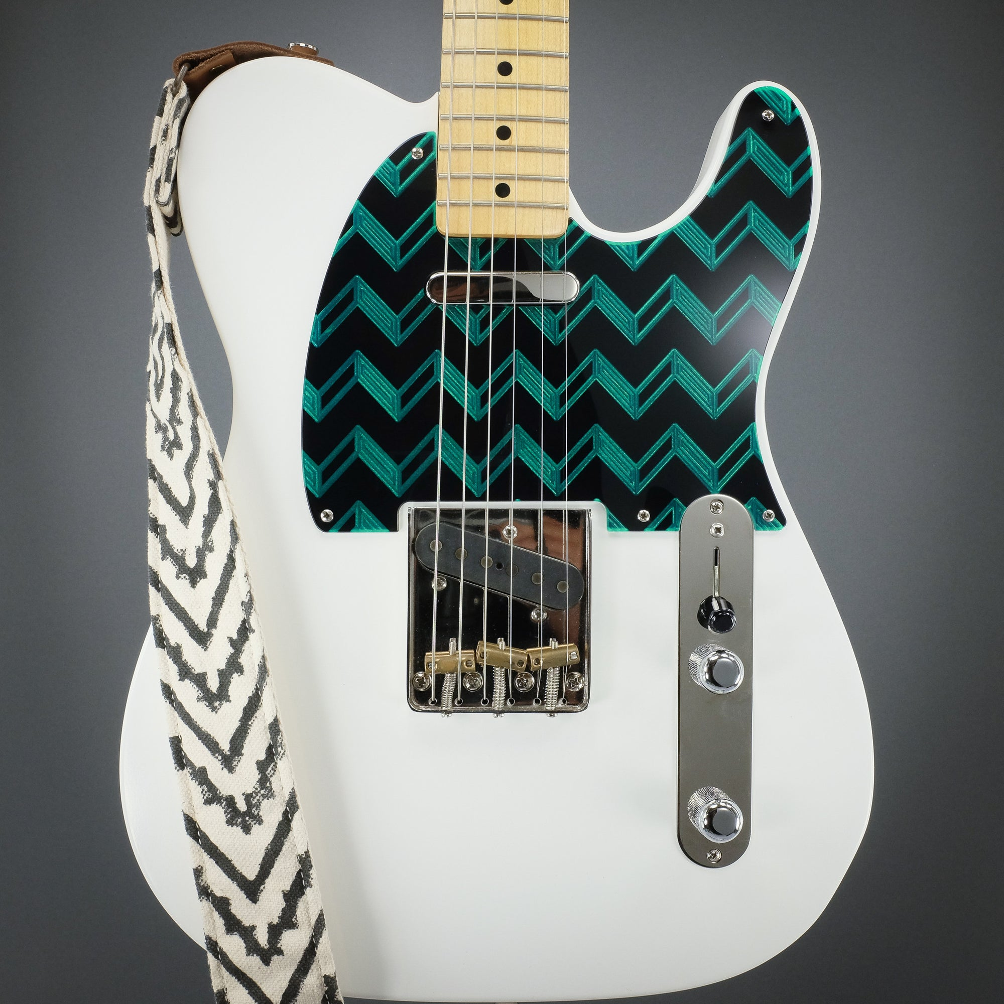 """Whistle Bait"" Telecaster Pickguard - Metallic Green on Black"