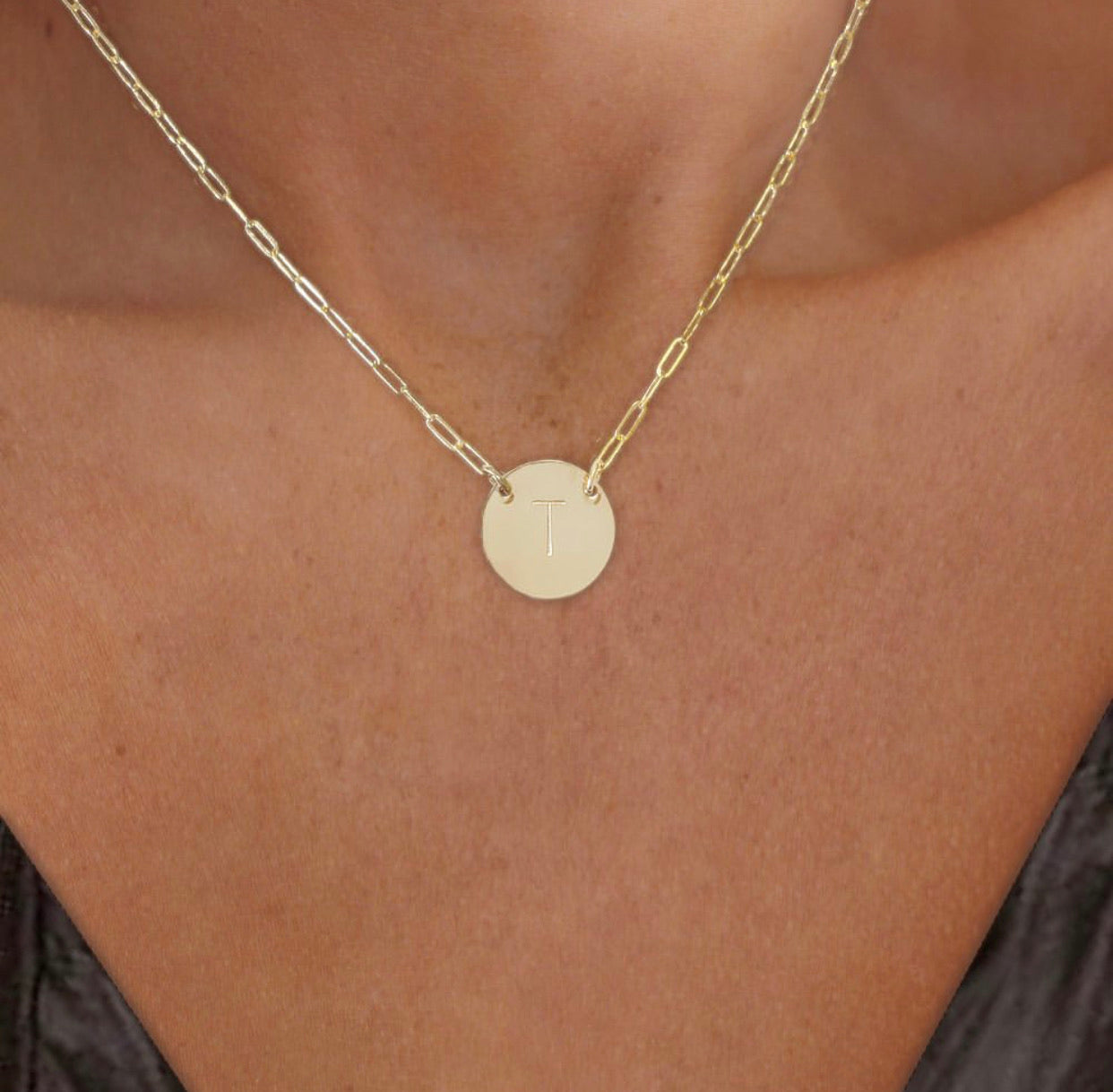 Chloe Initial Disc Necklace's - Gold