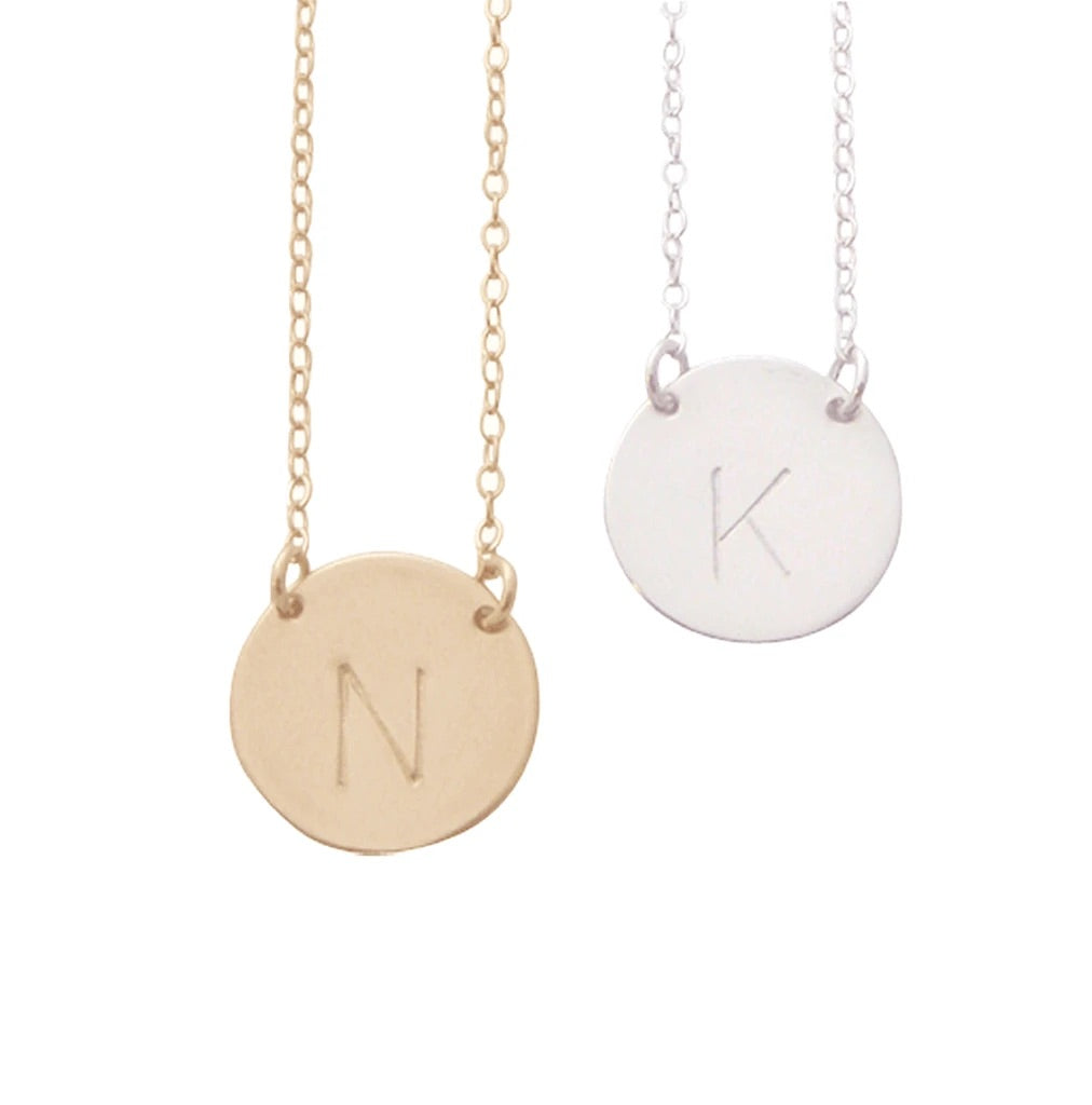 Chloe Initial Disc Necklace's - Silver