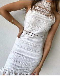 White Lace High Neck Dress