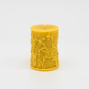 Hand poured floral detail beeswax candle