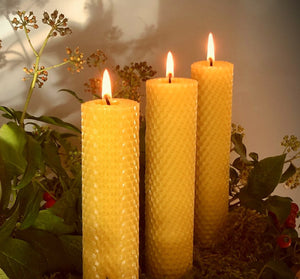 Hand rolled trio of beeswax candles