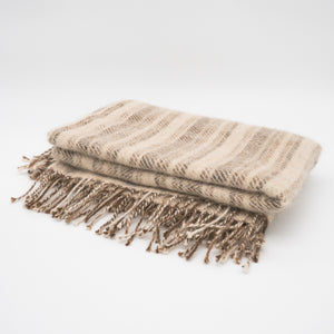 Welsh handmade alpaca wool throw, made here in the Brecon Beacons, Wales.