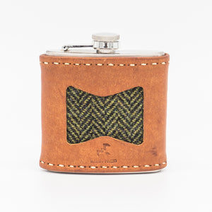 welsh tweed hip flask made sustainably in wales.