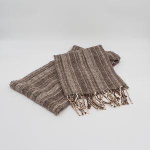 sustainable hand made Alpaca wool scarf. Made in Wales, Brecon Beacons