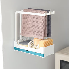 Kitchen Sink Organiser Rack Sponge Storage Rack with Tray Perforation-free Vertical over the sink caddy Sponge Holder for Kitchen Sink Over The Sink caddy Organizer for Sponges, Liquid Soap, Scrubber, Brush and Other Dishwashing Accessories easy to hang a dishcloth