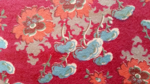 Floral - Raspberry Background - Vintage Flannel Fabric - VFL100
