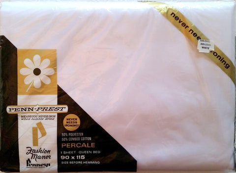 Vintage Bed Sheet - Queen - Flat - Solid White - Penneys - Percale - BDSF10
