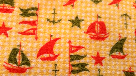 Nautical - Sail Boats - Vintage Terry Cloth Fabric - TCL39