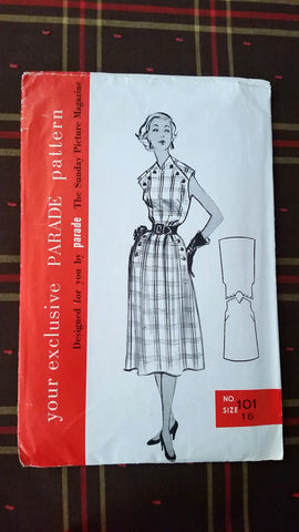 1950s Parade Mail Order Vintage Sewing Pattern 101 - Dress - Size 16