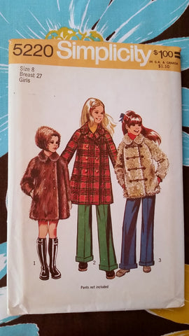 1972 Simplicity Vintage Sewing Pattern 5220 - Girl Coat and Hat - Size 8