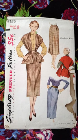 1950s Simplicity Vintage Sewing Pattern 3655 - Skirt, Stole - Waist 26