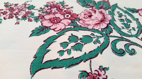 Cabbage Rose - Faille - Vintage Fabric - FAL26