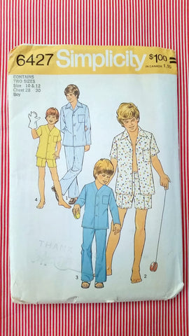1975 Simplicity Vintage Sewing Pattern 6427 - Teen, Boy Pajamas PTSB6427