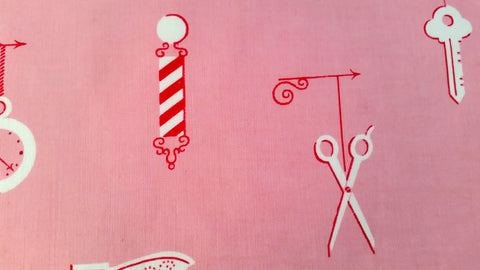1940s Vintage Novelty Fabric - Cotton - Barber Shop - Pink - By the Yard - VCW791