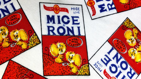1970s Retro Fabric - Wacky Packages - Mice A Roni - Cotton - By the Yard - 6WCK2