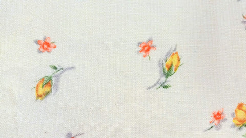 Vintage Fabric - Cotton - Dimity - Rosebuds - Yellow - Fabric Remnant - DMT39