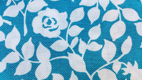 1950s Vintage Fabric - Waffle Cotton - Pique - Roses - Teal - By the Yard - PQE263