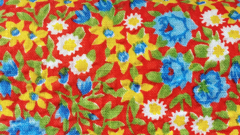 1950s Vintage Fabric - Cotton - Plisse - Little Floral - Red - Fabric Remnant - VCR74