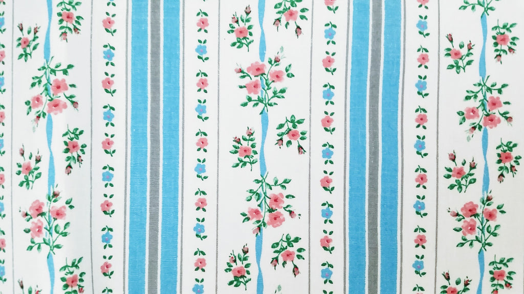 Vintage Pillow Ticking Fabric Cotton Roses Pink Blue By The