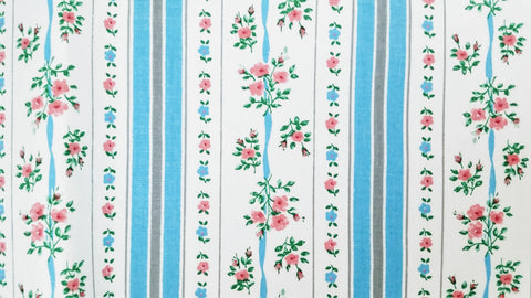 Vintage Pillow Ticking Fabric - Cotton - Roses - Pink, Blue - By the Yard - TCK48