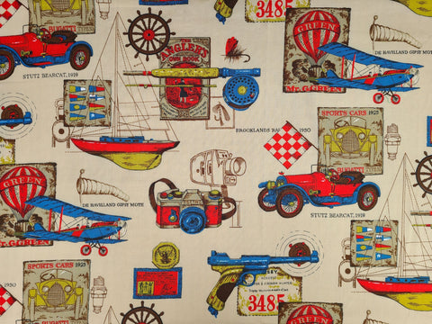 1960s 1970s Retro Fabric - Classic Automobiles, Fishing, Nautical - Fabric Remnants - 6C155