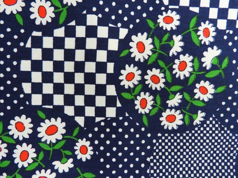 1960s 1970s Retro Fabric - Heavy Cotton - Checkerboard Flowers - Fabric Remnant - 6C300