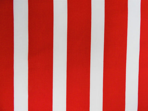 1960s 1970s Retro Fabric - Cotton - Stripes - Red, White - Fabric Remnant - 6C305