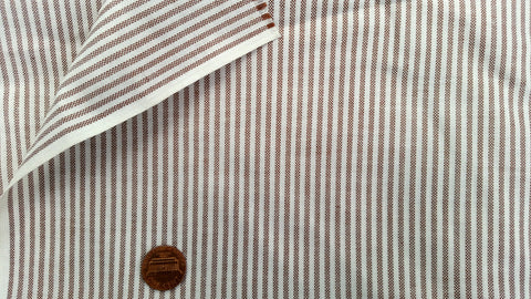 1960s 1970s Retro Fabric - Cotton - Shirting - Pin Striped - Brown - By the Yard - 6SHR215