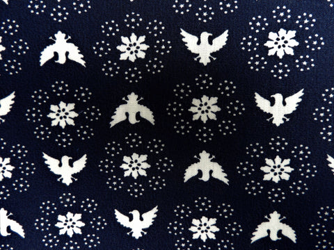 1960s 1970s Retro Fabric - Cotton - Regal Eagle - Blue - By the Yard - 6C310