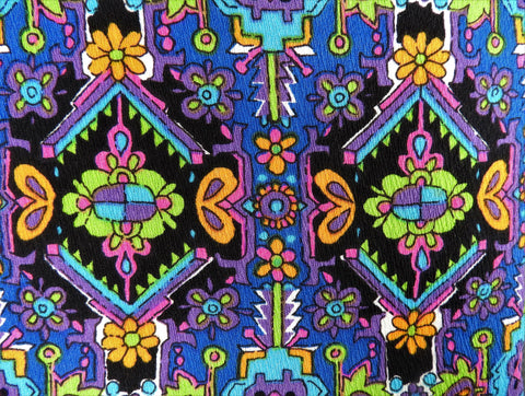 1960s 1970s Retro Fabric - Acrylic Crepe - Flower Power Southwest - Fabric Remnant - 6A327
