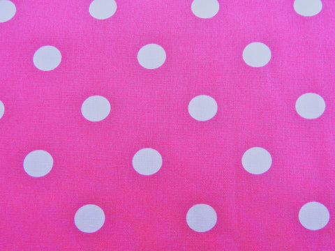 1960s 1970s Retro Fabric - Cotton - Bright Pink, White Dots - Fabric Remnant - 6C505