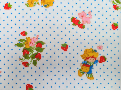 1980 Strawberry Shortcake Fabric - Cotton - Huckleberry Pie - By the Yard - 6KD210