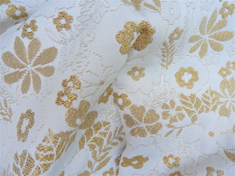 Vintage Fabric - Brocade - Floral - Metallic Gold - Fabric Remnant - 6KT52