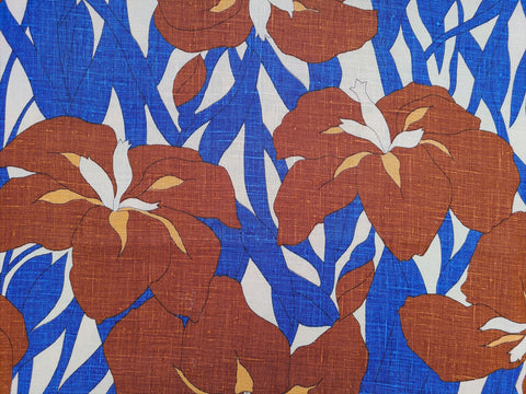 1960s 1970s Retro Fabric - Linen - MOD Oversize Iris - By the Yard - 6LN552
