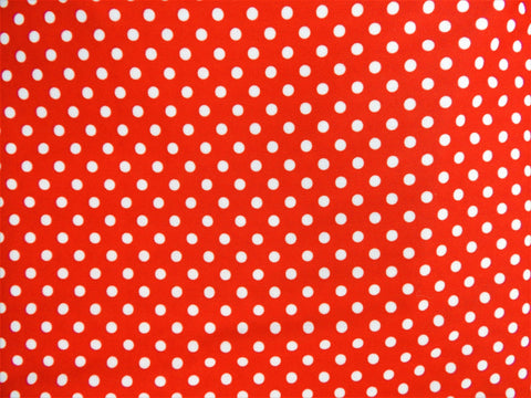 1960s 1970s Retro Fabric - Polyester  - Polka Dots - Red - Fabric Remnant - 6P309