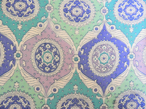 1960s 1970s Retro Fabric - Voile - Medallion - Purple - Retro Fabric - 6V220