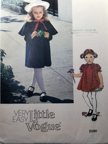 Little Vogue - Vintage Sewing Pattern - Girl Dress, Slip, Coat - Size 3 - 2090