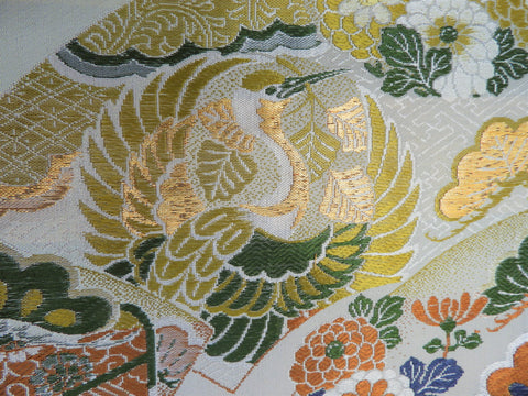 Vintage Fabric - Brocade - Crane - Gold - Fabric Remnant - BFF1230