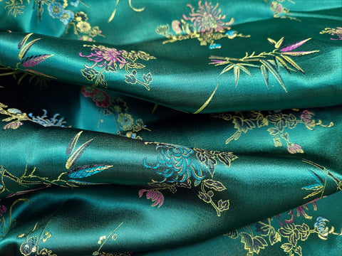 Vintage Fabric - Brocade - Chrysanthemum - Green - Hong Kong - Fabric Remnant - BFF71