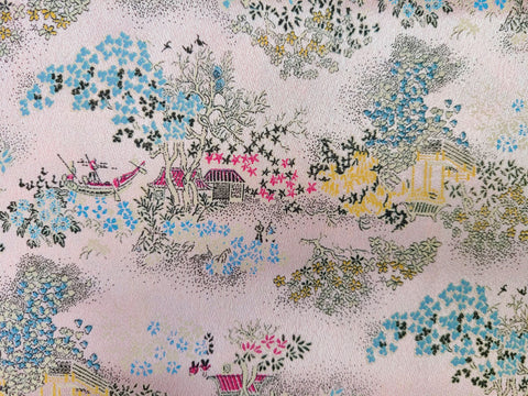 Vintage Fabric - Brocade - Pagoda - Pink - Fabric Remnant - BFF74