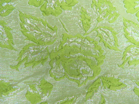 Vintage Fabric - Brocade - Iridescent Floral - Green - Fabric Remnant - BRK1987